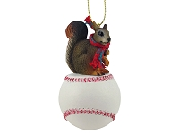 Squirrel Red Baseball Ornament