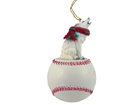 Wolf White Baseball Ornament