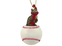 Brown Shorthaired Tabby Cat Baseball Ornament