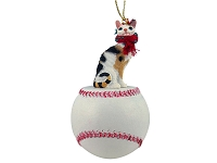 Tortoise & White Cornish Rex Baseball Ornament