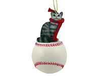 Silver Tabby Maine Coon Cat Baseball Ornament