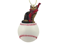 Brown Maine Coon Cat Baseball Ornament