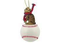 Brown Tabby Scottish Fold Baseball Ornament