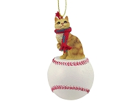 Red Tabby Manx Baseball Ornament