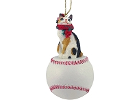 Tortoise & White Japanese Bobtail Baseball Ornament