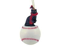 Black Shorthaired Tabby Cat Baseball Ornament