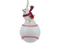 Poodle White Baseball Ornament