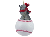Poodle Gray Baseball Ornament