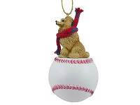 Poodle Apricot Baseball Ornament