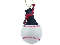 Poodle Black Baseball Ornament