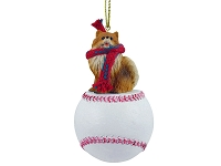 Pomeranian Red Baseball Ornament