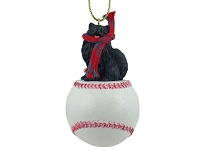Pomeranian Black Baseball Ornament
