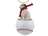 Bulldog White Baseball Ornament