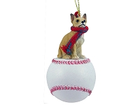 Chihuahua Tan & White Baseball Ornament