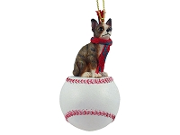 Chihuahua Brindle & White Baseball Ornament