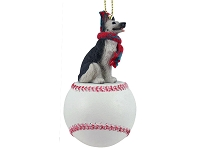 German Shepherd Black & Silver Baseball Ornament