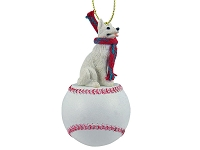 German Shepherd White Baseball Ornament