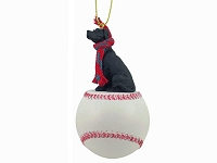 Great Dane Black w/Uncropped Ears Baseball Ornament