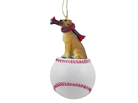 Great Dane Fawn w/Uncropped Ears Baseball Ornament