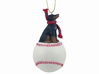 Doberman Pinscher Black w/Uncropped Ears Baseball Ornament