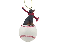 Doberman Pinscher Red w/Uncropped Ears Baseball Ornament
