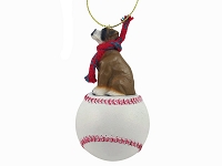 Boxer w/Uncropped Ears Baseball Ornament