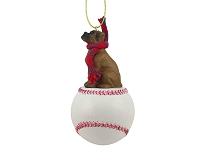 Boxer Tawny w/Uncropped Ears Baseball Ornament