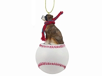 Boxer Brindle w/Uncropped Ears Baseball Ornament