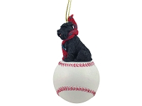 Schnauzer Black w/Uncropped Ears Baseball Ornament
