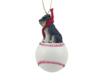 Schnauzer Gray w/Uncropped Ears Baseball Ornament
