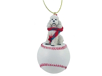Poodle White w/Sport Cut Baseball Ornament