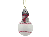 Poodle Gray w/Sport Cut Baseball Ornament