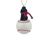 Poodle Black w/Sport Cut Baseball Ornament