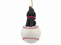 Poodle Chocolate w/Sport Cut Baseball Ornament