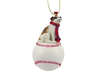 Jack Russell Terrier Brown & White w/Smooth Coat Baseball Ornament