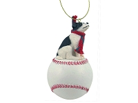 Jack Russell Terrier Black & White w/Smooth Coat Baseball Ornament