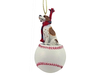 Pointer Brown & White Baseball Ornament