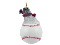 Lhasa Apso Gray Baseball Ornament