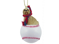 Lhasa Apso Blonde Baseball Ornament