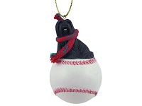 Lhasa Apso Black Baseball Ornament