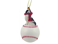 Japanese Chin Black & White Baseball Ornament