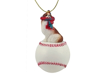 Japanese Chin Red & White Baseball Ornament