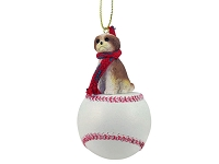 Shih Tzu Tan w/Sport Cut Baseball Ornament