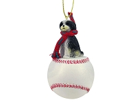 Shih Tzu Black & White w/Sport Cut Baseball Ornament