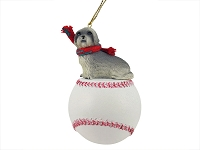 Lhasa Apso Gray w/Sport Cut Baseball Ornament