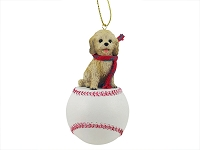 Cockapoo Blond Baseball Ornament