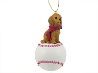 Goldendoodle Baseball Ornament