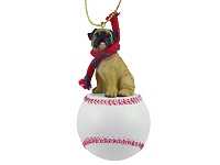 Pug Fawn Baseball Ornament