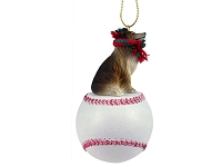 Collie Sable Baseball Ornament