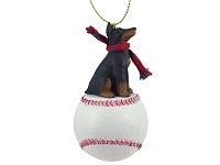 Doberman Pinscher Red w/Cropped Baseball Ornament